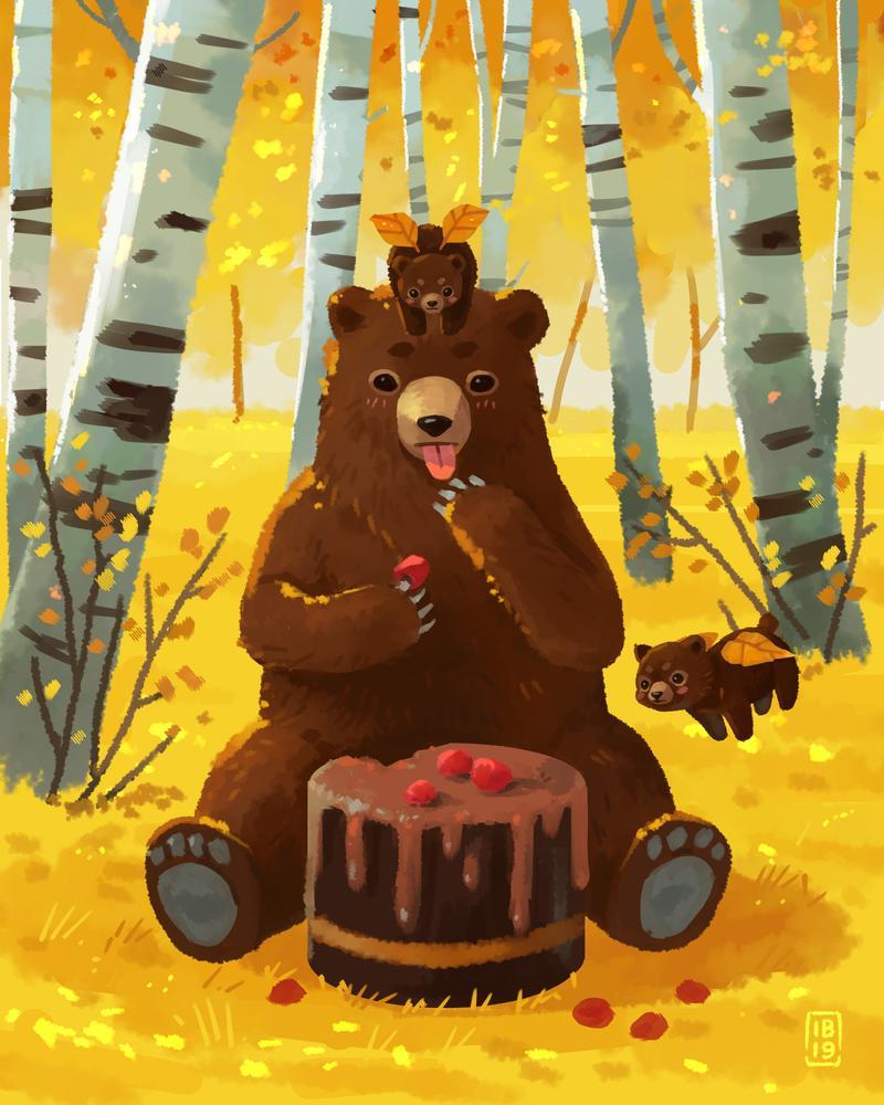 Фото Медведь ест шоколадный пирог, за ним наблюдают медвежата с крылышками-листьями, by freeminds