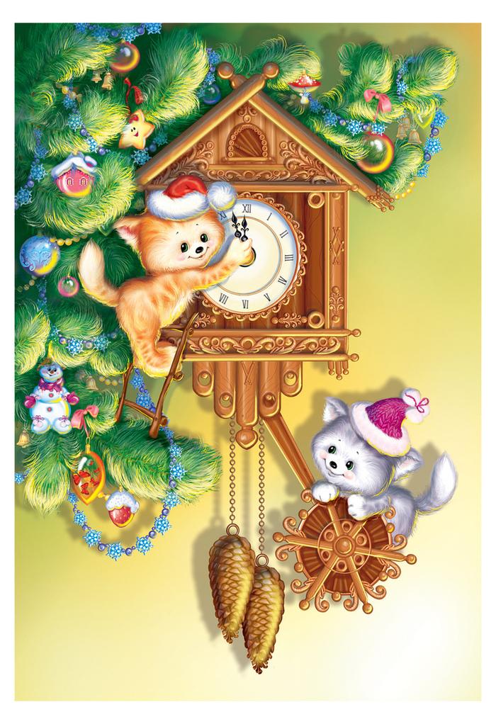 Фото Два рыжих котенка в новогодних шапках сидят на часах на фоне веток елки с новогодними игрушками, художник-иллюстратор Татьяна Баринова