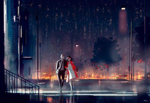 Фото Влюбленные идут по дороге ночного города, by PascalCampion