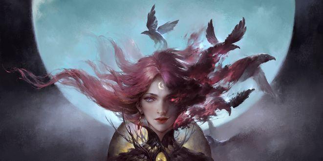 Фото Девушка с развевающимися волосам и птицами, вылетающими из них, by L zz