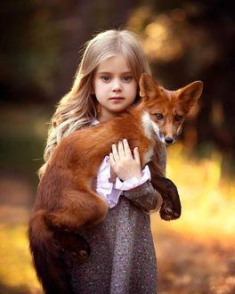 Фото Девочка Аделина Пушина с лисой на руках
