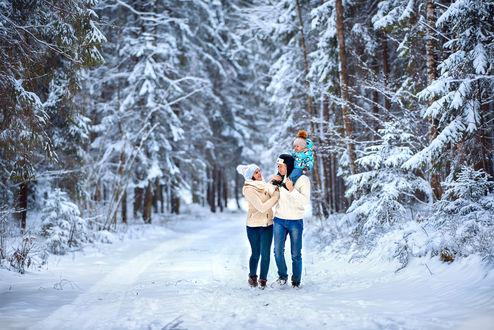 Фото Зимняя прогулка молодой семьи. Фотограф Татьяна Гуз