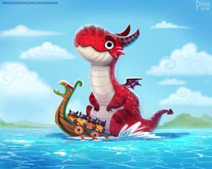 Фото Дракон с викингами в лодке (), by Cryptid-Creations