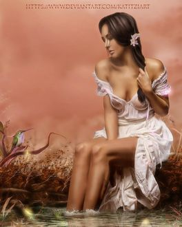 Фото Девушка Дина в белом платье сидит, поставив ножки в воду, by KatitziArt