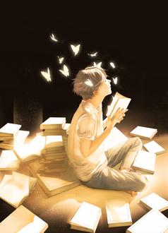 Фото Парень с закрытыми глазами сидит на полу с книгой в руках, из которой вылетают золотые бабочки, by Re°
