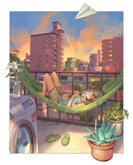 Фото Девочка с цветком лежит в гамаке на фоне города, by Mifuki32