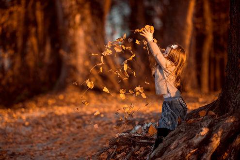 Фото Девочка подбрасывает осеннюю листву. Фотограф Татьяна Гуз