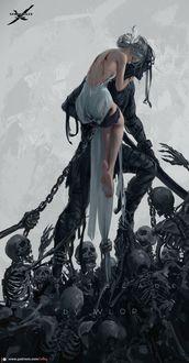 Фото Скелеты тянут свои руки к девушке, которую держит на руках мужчина, Призрачный клинок / Ghost Bladeby WLOP