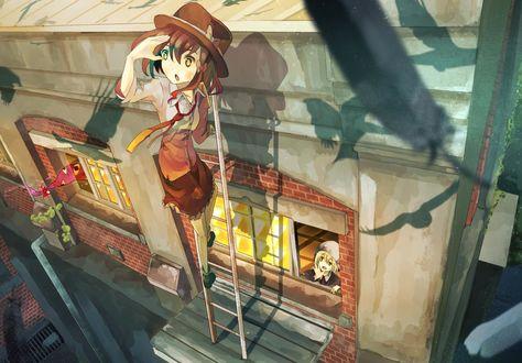 Фото Usami Renko стоя на лестнице на карнизе высокого дома, смотрит вдаль, а Maribel Hearn смотрит из окна, из игры Touhou / Проект восток, by Tokoroten
