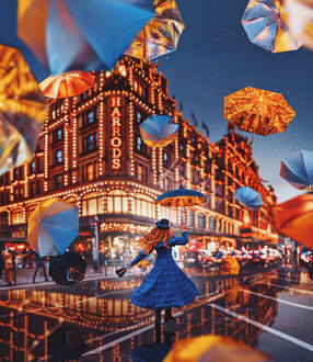 Фото Девушка с зонтом на улице города. Фотограф Кристина Макеева