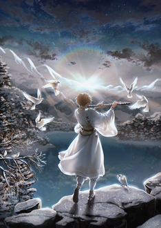 Фото Девушка играет на флейте в окружении парящих в небе птиц