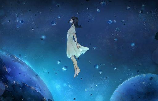 Фото Девушка парит в небе