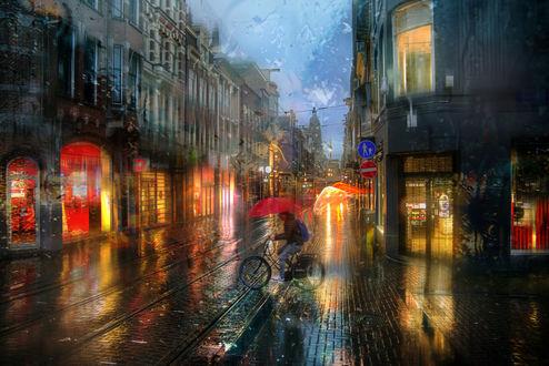 Фото Парень с зонтом на велосипеде под дождем, Амстердам, by Ed Gordeev
