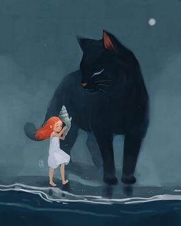 Фото Девочка с ракушкой и черная кошка на морском берегу, by freeminds