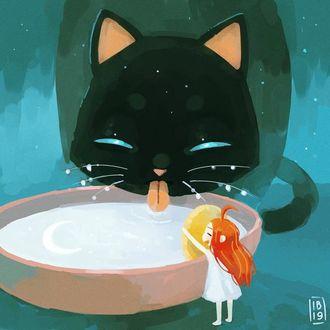 Фото Кошка пьет молоко из миски, а девочка макает туда печеньку, by freeminds