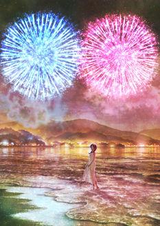 Фото Девушка на морском берегу во время фейерверков, by Kupe