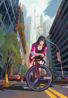 Фото Девушка на велосипеде, by haryarti