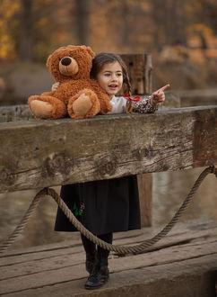 Фото Девочка с плюшевым мишкой стоит на мостике, фотограф Salih Gоkduman