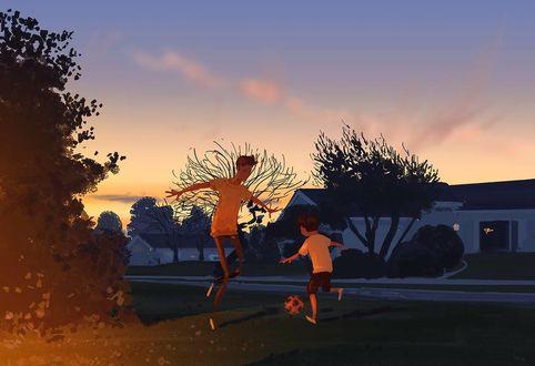 Фото Папа играет с сыном в футбол, by PascalCampion