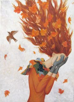 Фото Плачущая девушка - осень
