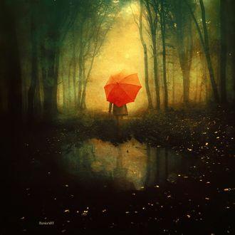 Фото Девушка с красным зонтом в лесу, by BaxiaArt