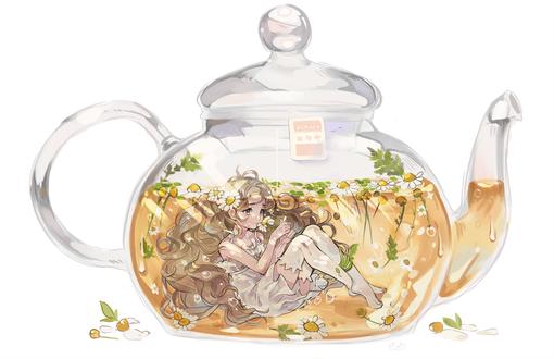 Фото Длинноволосая девушка в белом платье в ромашковом чае внутри прозрачного чайника, by AlpacaCarlesi