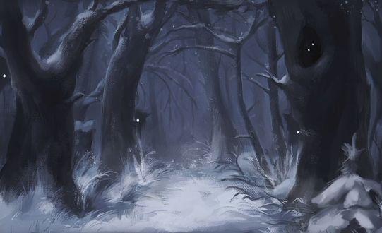 Фото Монстры со светящимися глазами в ночном лесу, by Felix-fox