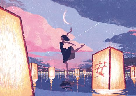 Фото Девочка стоит на воде в окпужении горящих фонарей