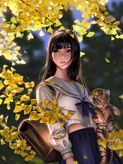 Фото Девушка-школьница с тигренком в руке, by Liang Xing
