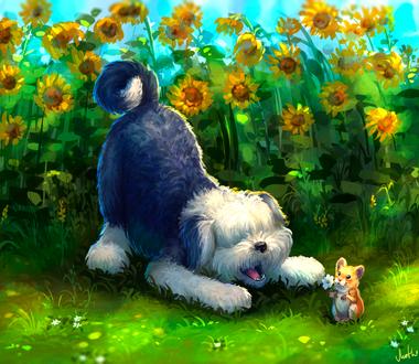 Фото Мышка с цветком и бобтейл на фоне подсолнухов, by Mothka