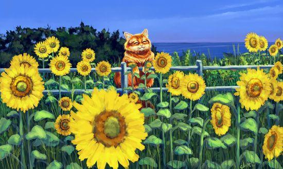 Фото Рыжий довольный кот сидит на заборе, by Mothka