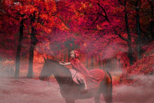 Фото Девочка в красной накидке сидит верхом на лошади на фоне осеннего леса, by enriquelopezgarre