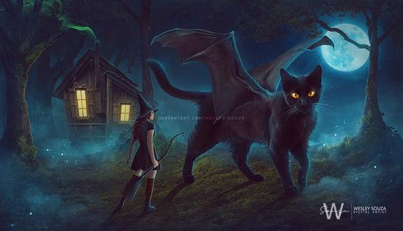 Фото Девушка в образе ведьмочки стоит перед сказочным котом с крыльями ночью в halloween, by Wesley-Souza