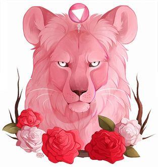 Фото Розовый лев среди роз, by MapleSpyder