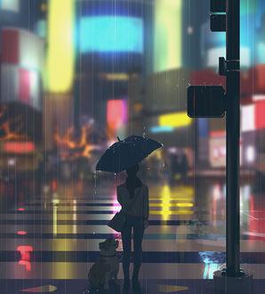 Фото Девушка с зонтом стоит на пешеходной дорожке рядом с собакой, by snatti89