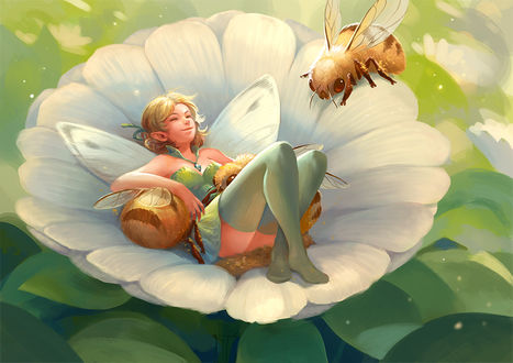 Фото Фея и осы в цветке, by sandara