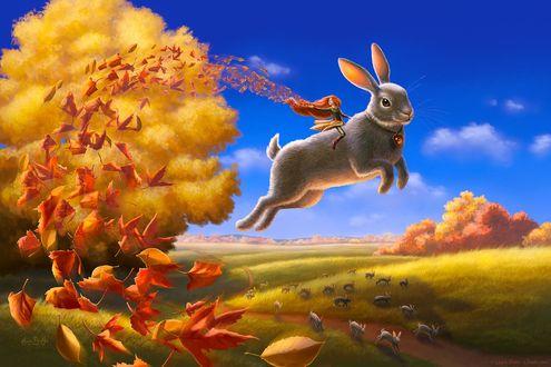 Фото Девочка на большом кролике в ппрыжке рассыпает осенние листья, by ldiehl