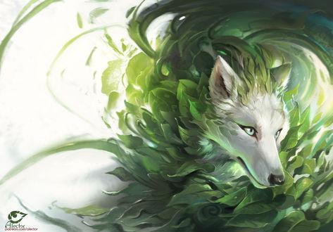 Фото Волк с шерстью из листьев, by AlectorFencer