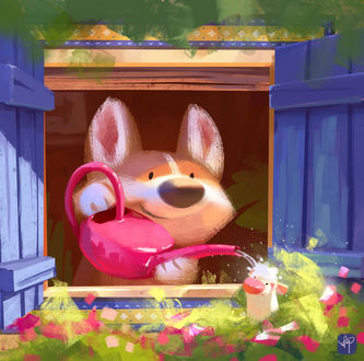 Фото Корги поливает мышку, сидящую в цветах, by Lynn Chen
