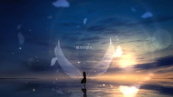 Фото Девушка с крыльями стоит на воде на фоне заката