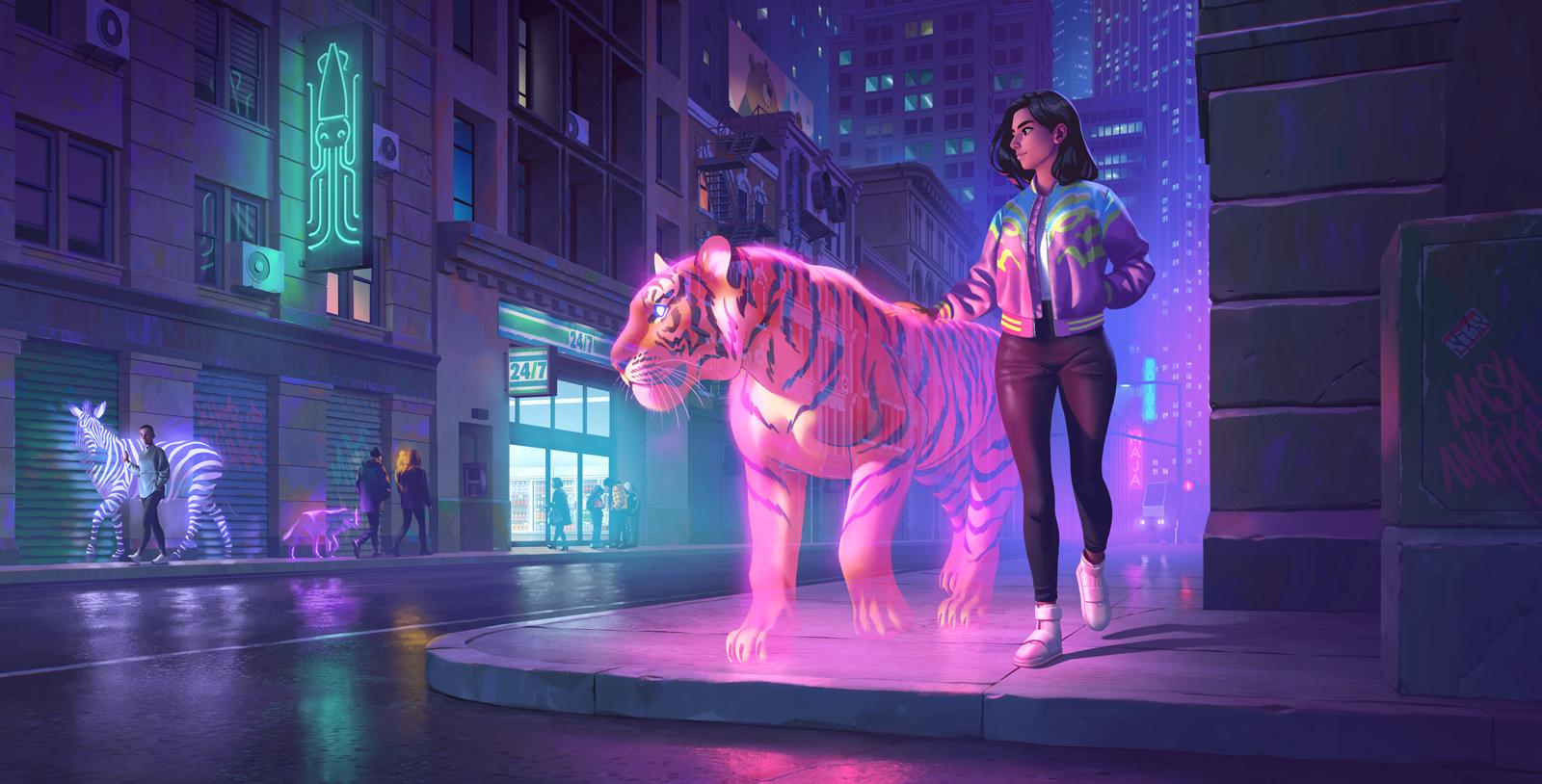 Фото Девушка с тигром, а парень с зеброй идут по улице города, by Ture Ekroos