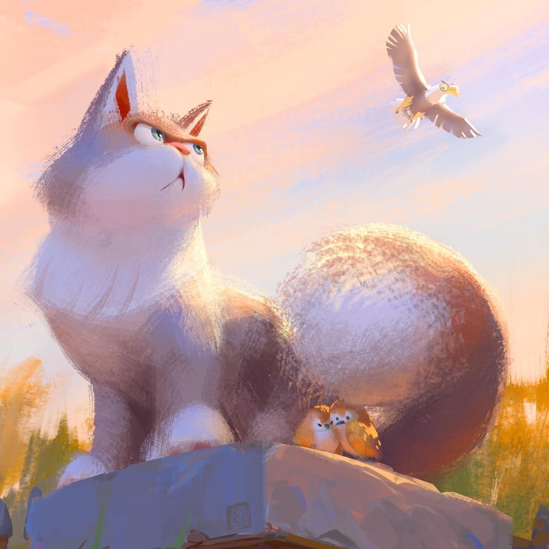 Фото Кошка защищает двух птиц от орла, by Lynn Chen