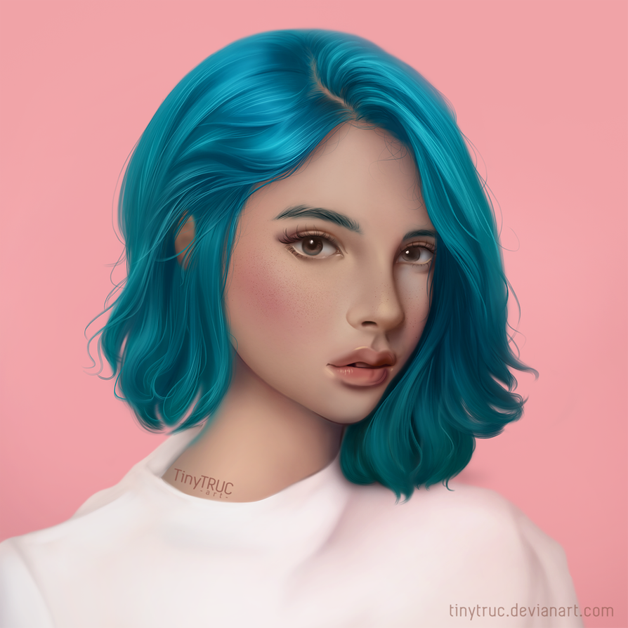 Фото Девушка с голубыми волосами, by TinyTruc