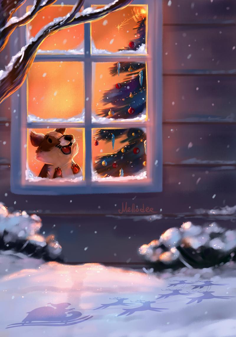 Фото Пес смотрит в окно на падающий снег, by Mellodee