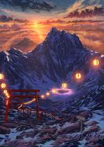 Фото Освещенная фонариками тропа в горах на закате, by pei - sumurai