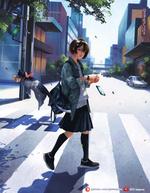 Фото Девушка переходит улицу, за ней подпрыгнувший кот с бантиком и подарком, by Taejune Kim
