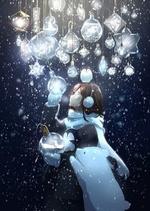 Фото Девочка стоит под снегопадом под лампочками, в которых находится кролик, цветы, рыбки и кристаллы