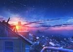 Фото Девочка лежит на крыше дома и смотрит на ночное звездное небо, by Nakomo