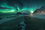 Фото Северное сияние над горами