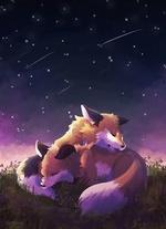 Фото Две лисы спят в траве под ночным небом, by YuMiieru